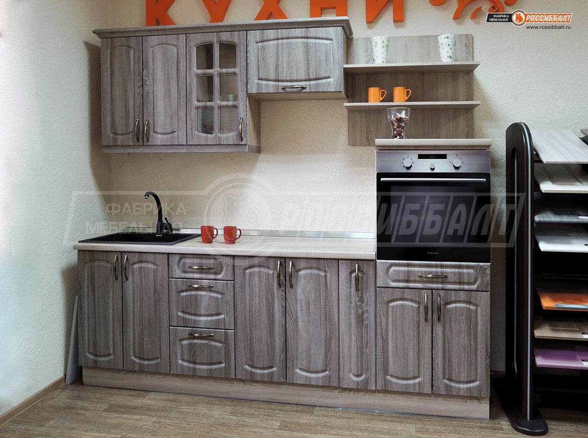 Прямая кухня «Дуб сонома трюфель» программы «Классик»