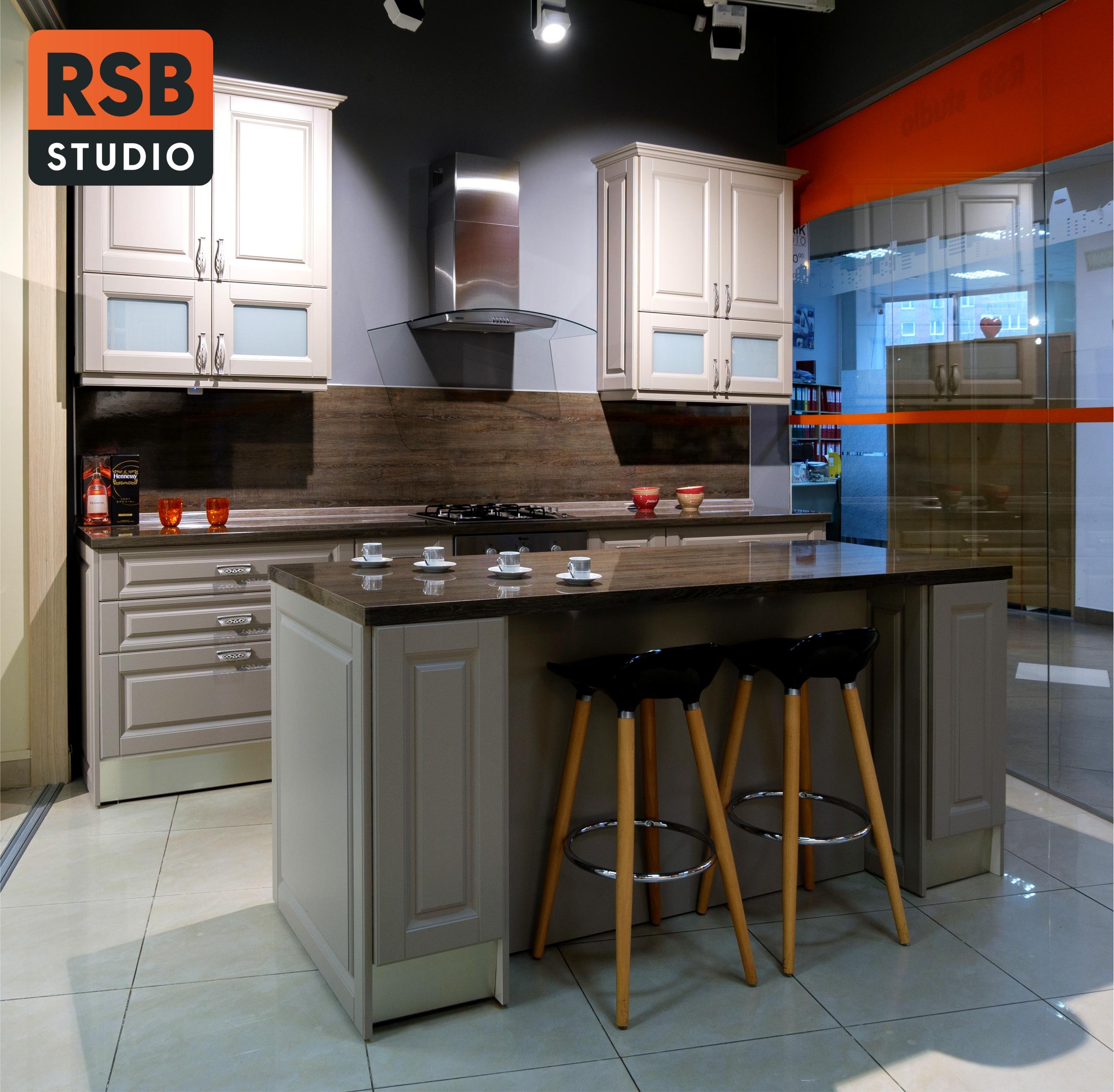 Прямая кухня с островом «Серый камень» программы «Еврокомфорт»