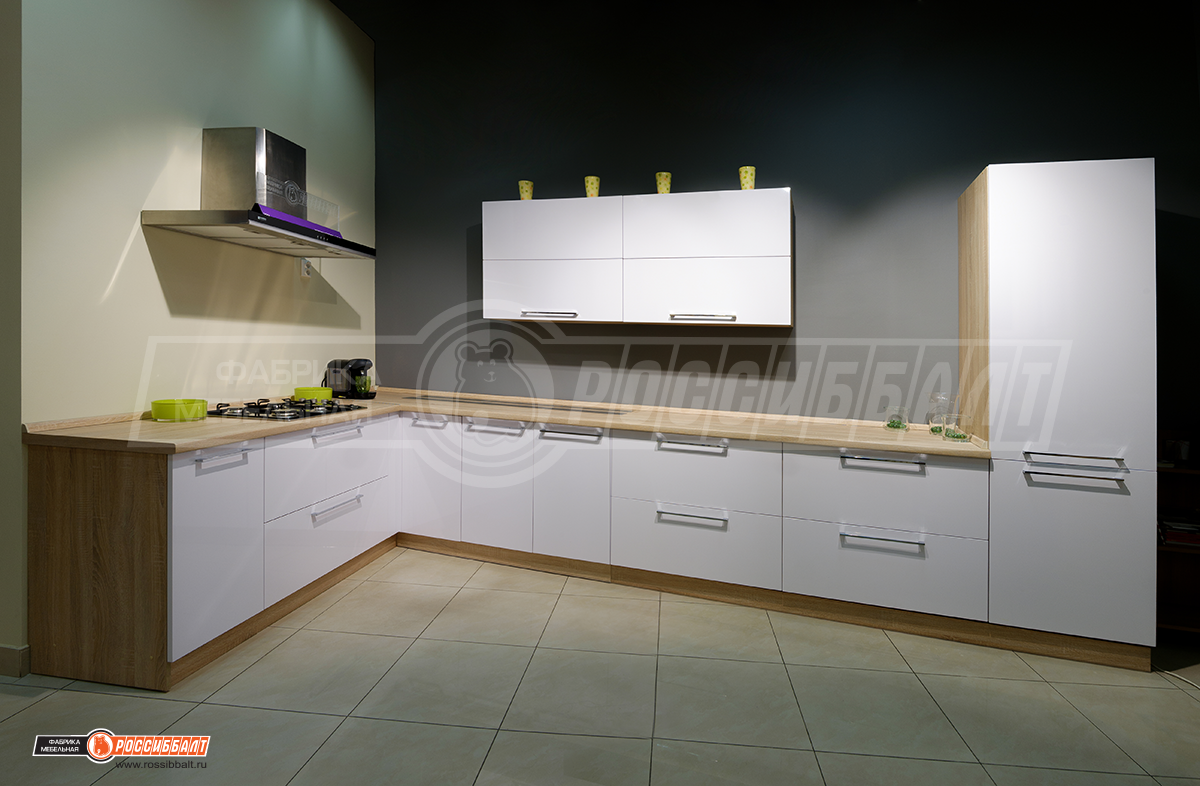 Угловая кухня «Белый глянец» программы «Престиж»